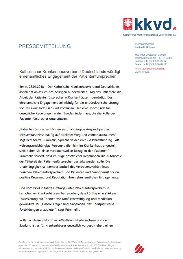 Pressemitteilung Katholischer Krankenhausverband Deutschlands e.V.