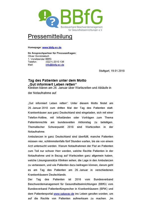 Pressemitteilung Bundesverband Beschwerdemanagement für Gesundheitseinrichtungen e.V.